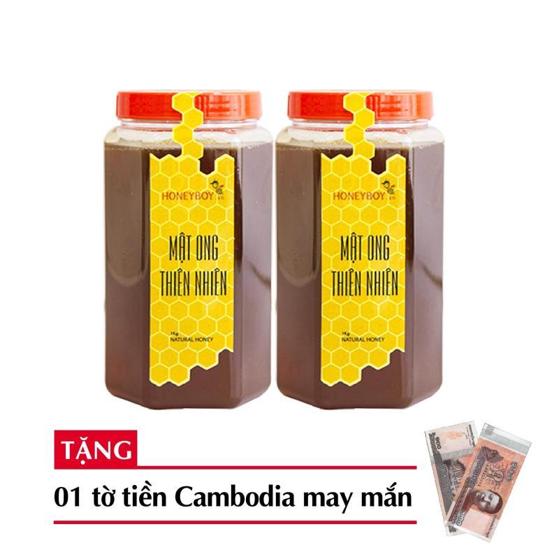 Combo 2 Mật ong thiên nhiên Honeyboy 1kg + Tặng 1 tờ tiền Cambodia hình phật may mắn cao cấp