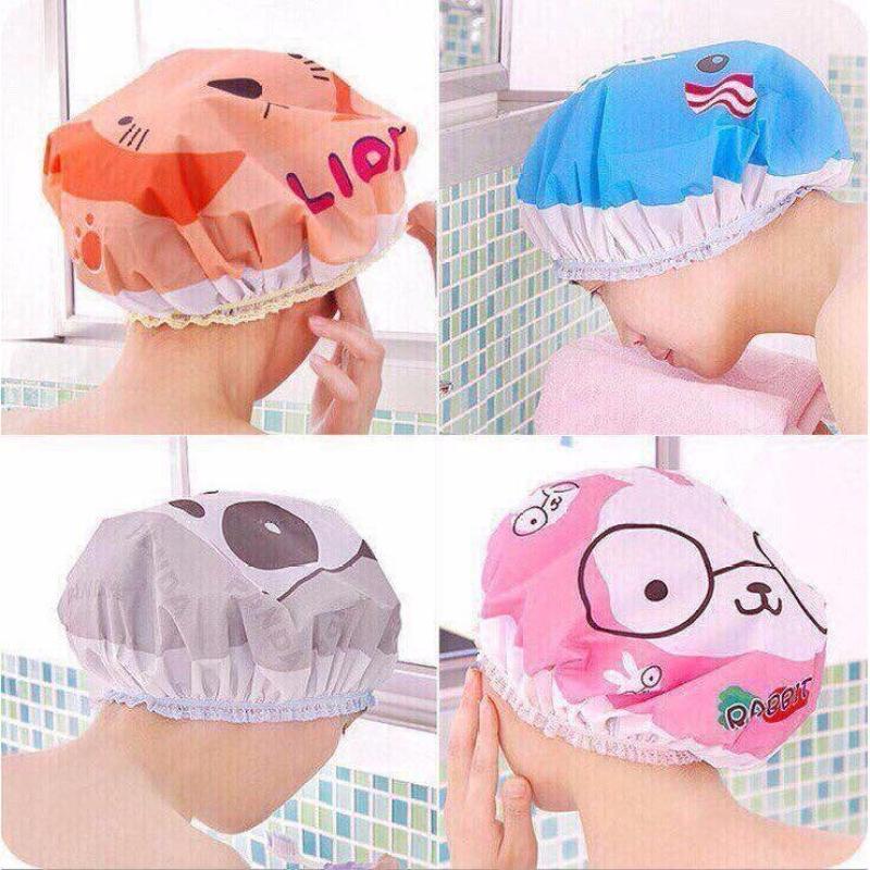 Combo 2 mũ chùm đầu che tóc tránh bị  ướt khi tắm (nhiều màu) cao cấp
