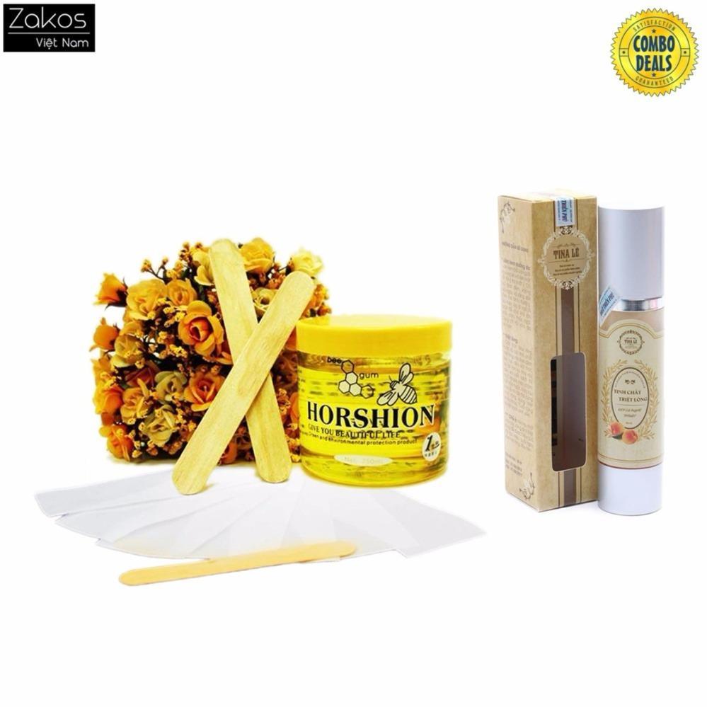 Combo Gel Wax lạnh tẩy lông Horshion cùng giấy Wax lông cao cấp 100 tờ và Gel triệt lông Tina lê chính hãng