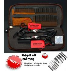 ComBo Kéo Cắt Tóc 6.0 inch ( Đen ) Tặng Kèm 10 cây lược cắt tóc cao cấp cao cấp