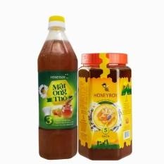 Combo Mật Ong Thiên Nhiên 5 Sạch Honeyboy 1kg và Mật Ong Thô Honeyboy 1000ml nhập khẩu