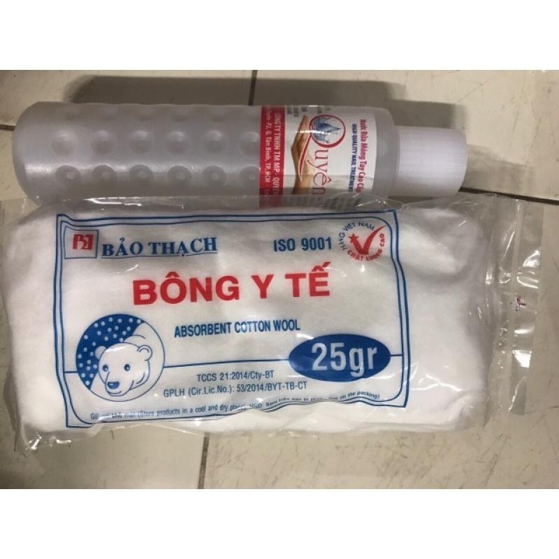 Combo Nước Rửa Móng Tay Quyên 125Ml Và Bông Gòn 25G