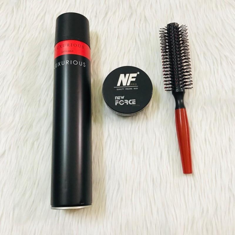 Combo sáp vuốt tóc New Force + gôm Luxurious + lược tròn nhập khẩu