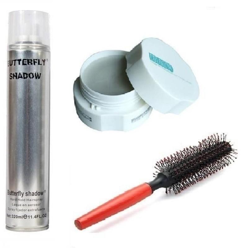 Combo x3 gồm sáp Colonna và gôm Butterfly (320ml) và Lược tròn tạo kiểu tóc giá rẻ