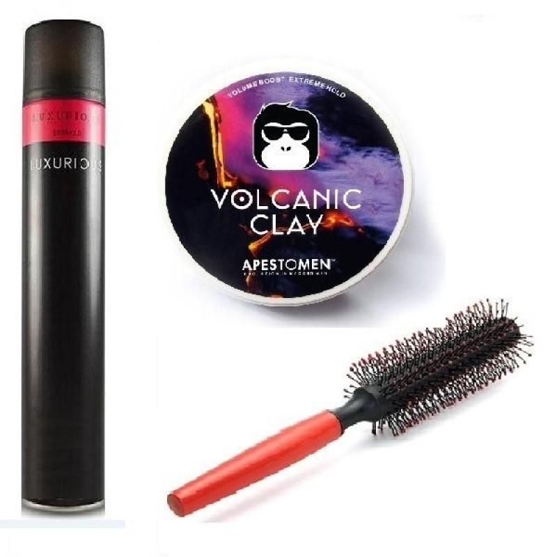 Combo x3 gồm sáp Volcanic Clay và gôm Luxurious (320ml) và Lược tròn tạo kiểu tóc giá rẻ