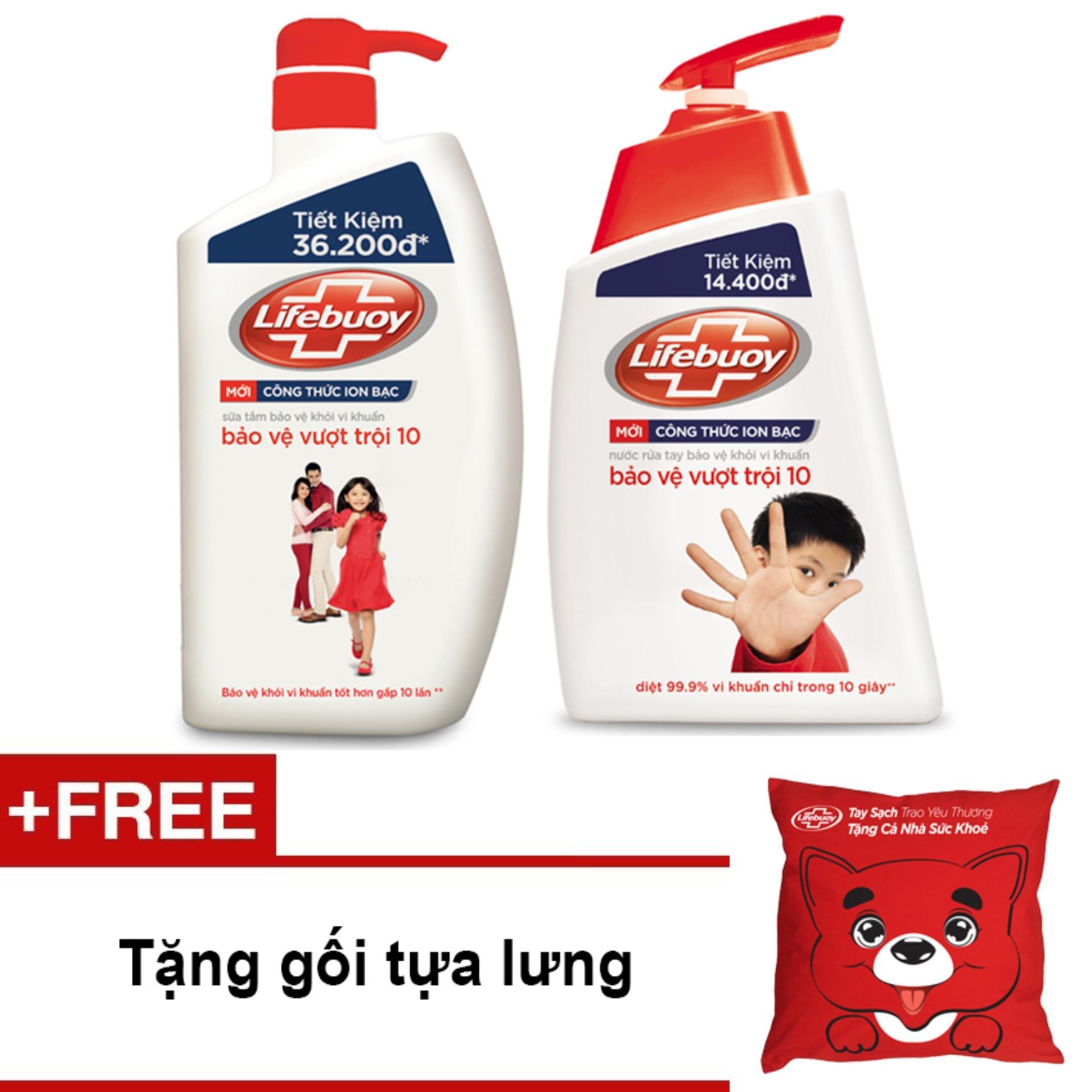 Bộ Lifebuoy bảo vệ vượt trội gồm sữa tắm chai 850g và nước rửa tay 500g + Tặng 01 gối tựa lưng