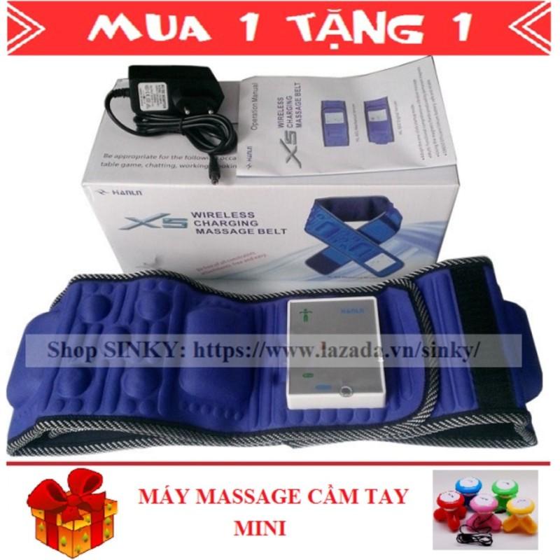 Đai mát xa giảm mỡ bụng X5 tích hợp pin SINKY (Xanh đen) + Tặng 1 Máy massage cầm tay mini