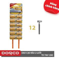 Dao cạo râu 2 lưỡi DORCO TD 708 Vỉ 12 dao cạo