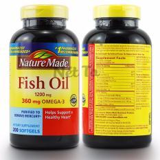 Dầu cá 1200mg Nature Made Fish Oil hộp 200 viên - cung cấp 360mg Omega3