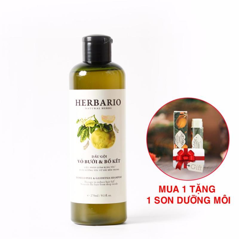 Dầu gội Bưởi& Bồ Kết Herbairo Giảm rụng Tóc, giúp tóc mọc nhanh 270ml [Tặng 1 son] nhập khẩu