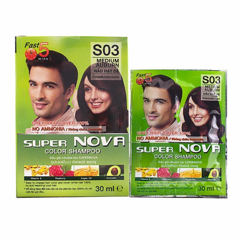 Dầu gội nhuộm tóc thảo dược màu nâu hạt dẻ SUPER NOVA giá rẻ