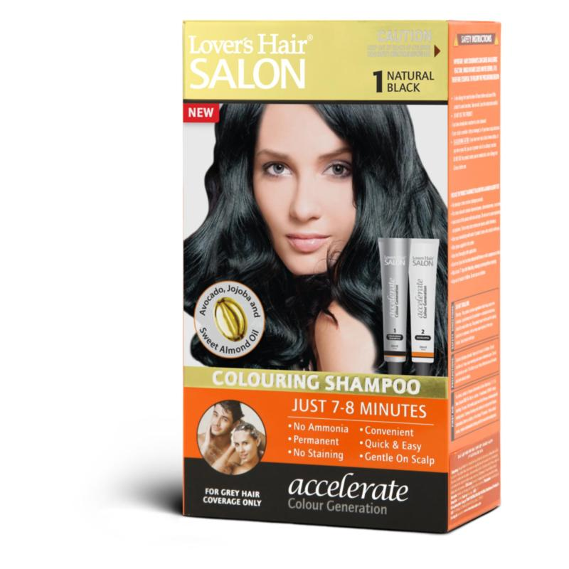 Dầu gội nhuộm tóc Lovers Hair Salon Colouring Shampoo #1 Natural Black 2x60ml cao cấp
