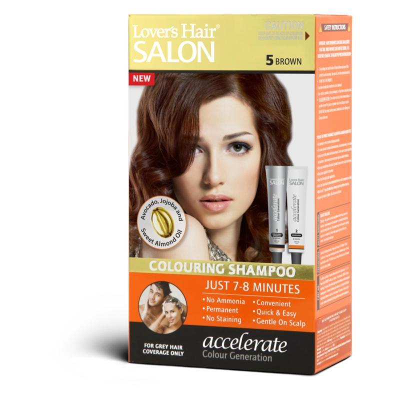 Dầu gội nhuộm tóc Lovers Hair Salon Colouring Shampoo # 5 Brown 2x60ml nhập khẩu