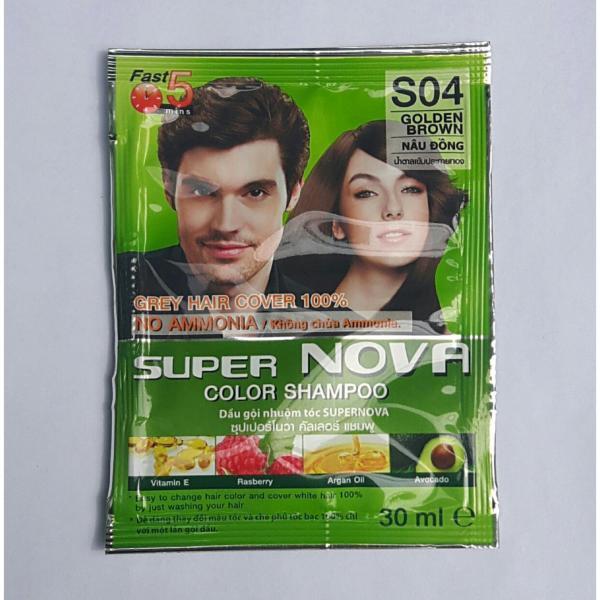 Dầu gội Nhuộm tóc Thảo Dược Super Nova Color Shampoo Golden Brown (#04 Nâu Đồng) 30m Thái Lan giá rẻ