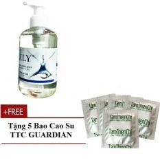 Gel bôi trơn gốc nước tiệt trùng KLY Thổ Nhĩ Kỳ chai 250ml tặng 5 chiếc bao cao su Tâm Thiện Chí Guardian