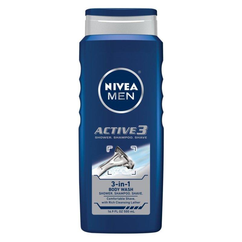 Gel tắm, gội, cạo râu 3 trong 1 NIVEA Men Active3 3-in-1 Body Wash 500ml (Mỹ)