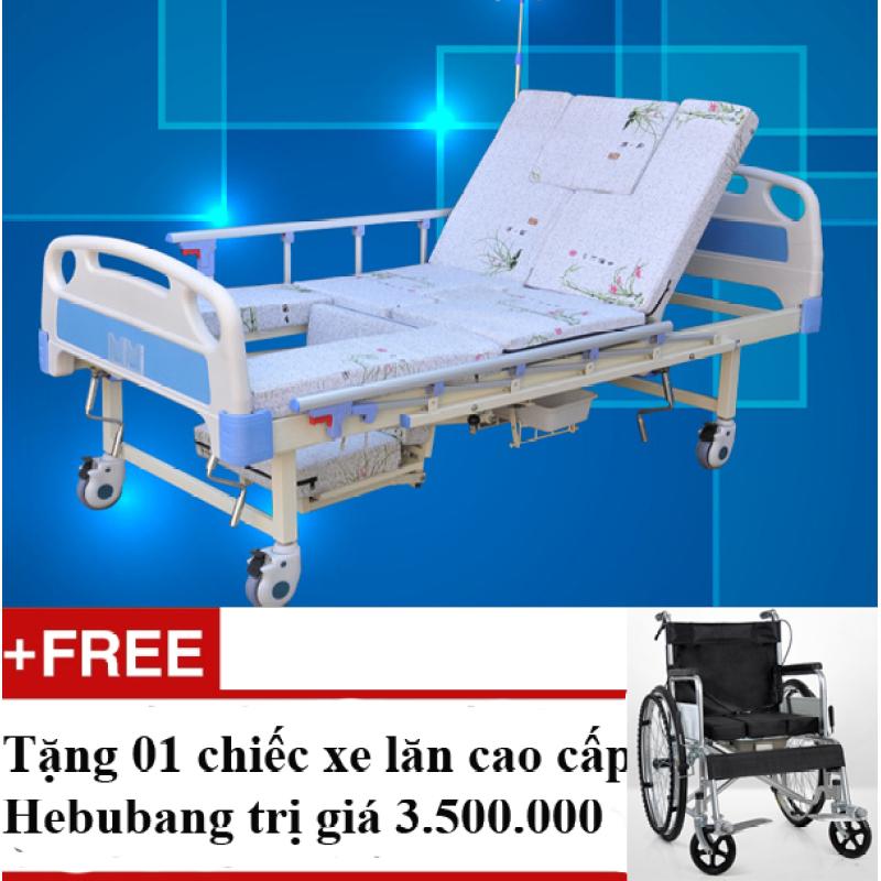 Giường bệnh 7 chức năng quay tay Ohio NK2 + Tặng 1 chiếc xe lăn cao cấp Hebubang