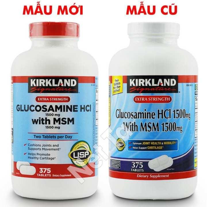 Glucosamine HCL 1500mg with MSM 1500mg Kirkland Signature hộp 375 viên - Mỹ - Bổ xương khớp