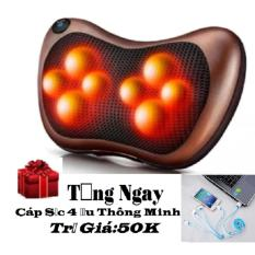 Ôn Tập Gối Massage 8 Bi Hồng Ngoại Massage Pillow Pl 8028 Nau Tặng Cap Sạc 4 Đầu
