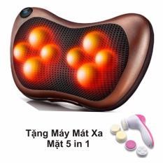 Giá Bán Gối Mat Xa Hồng Ngoại Massage Pillow Nau Tặng May Mat Xa Mặt 5 In 1 Hồng Mới
