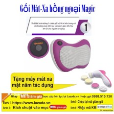 Hình ảnh Gối mát-xa Massage Magic 6 bi hồng ngoại PL818 (Tím) + Máy Mát Xa Mặt _ Hàng nhập khẩu
