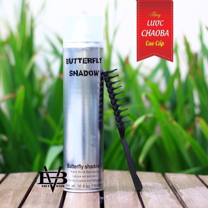 Gôm xịt tóc Butterfly Shadow 600ml + Tặng lược tạo kiểu Chaoba cao cấp