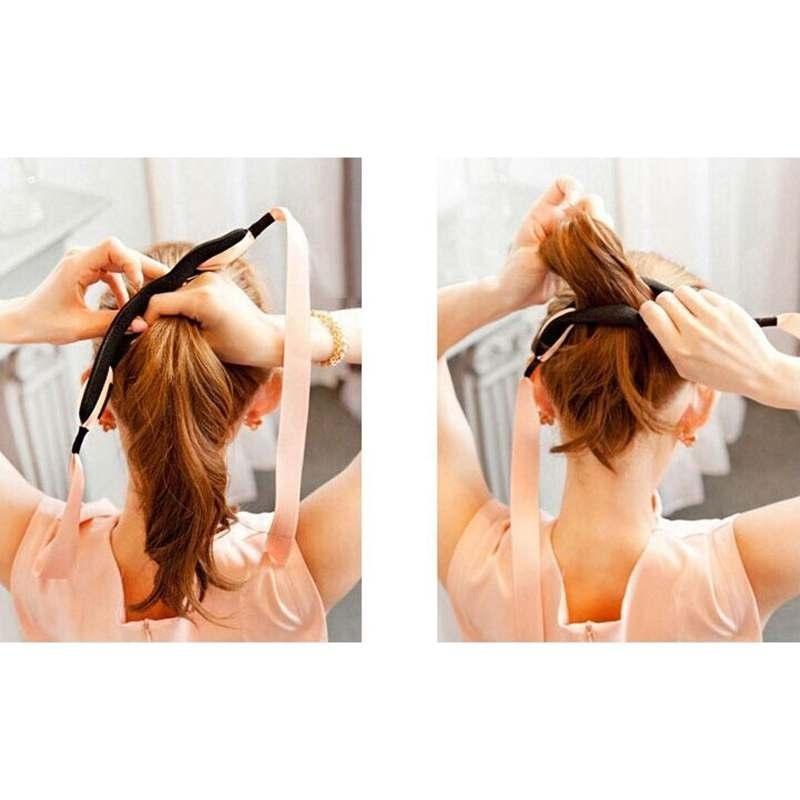 Tạo Kiểu tóc Búi Tóc Uốn Máy Làm Dụng Cụ Vòng Xoắn Magic Xốp Kẹp Xốp Tặng Cung Tên-quốc tế tốt nhất