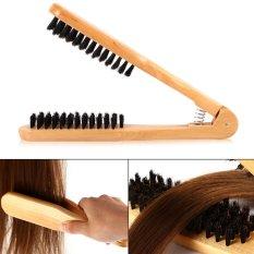Justgogo Hairdressing Comb Double Brushes Wooden Hair Straightener Tool - intl tốt nhất