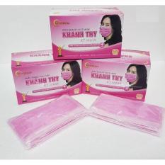 (Hồng) Bộ 5 hộp khẩu trang y tế kháng khuẩn Khánh Thy 4 lớp lọc (Hộp 50 Cái)