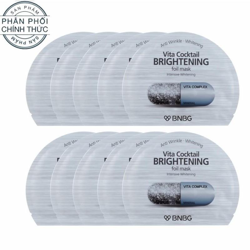 Hộp 10 gói Mặt nạ lá nguyên khối cao cấp dưỡng sáng da và làm mờ vết thâm Banobagi Vita Cocktail Brightening Foil Mask - Intensive Brightening 30ml x10 nhập khẩu