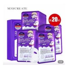 Hình ảnh Hộp 20 miếng mặt nạ dưỡng trắng, làm mờ vết thâm HA Maycreate Pearl Light Perception Light Mask 23ml x 20