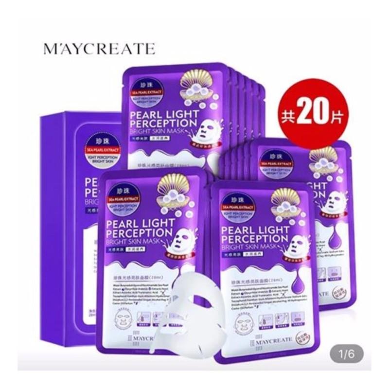 Hộp 20 miếng mặt nạ dưỡng trắng, làm mờ vết thâm HA Maycreate Pearl Light Perception Light Mask 23ml x 20 nhập khẩu