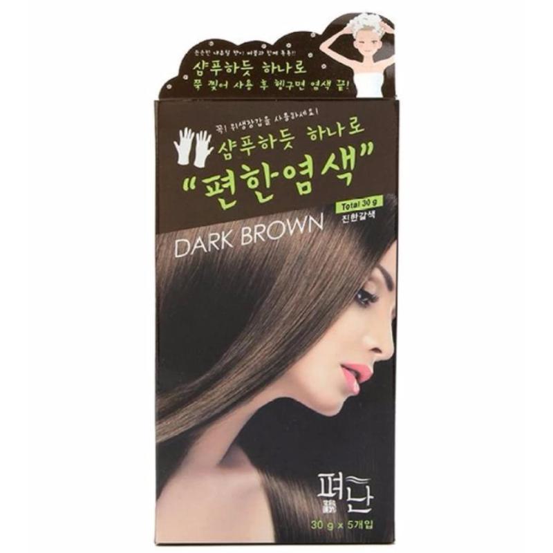 Hộp 5 Gói Thuốc Nhuộm Tóc Dyeing Pyeonan 30g (Nâu đen) cao cấp