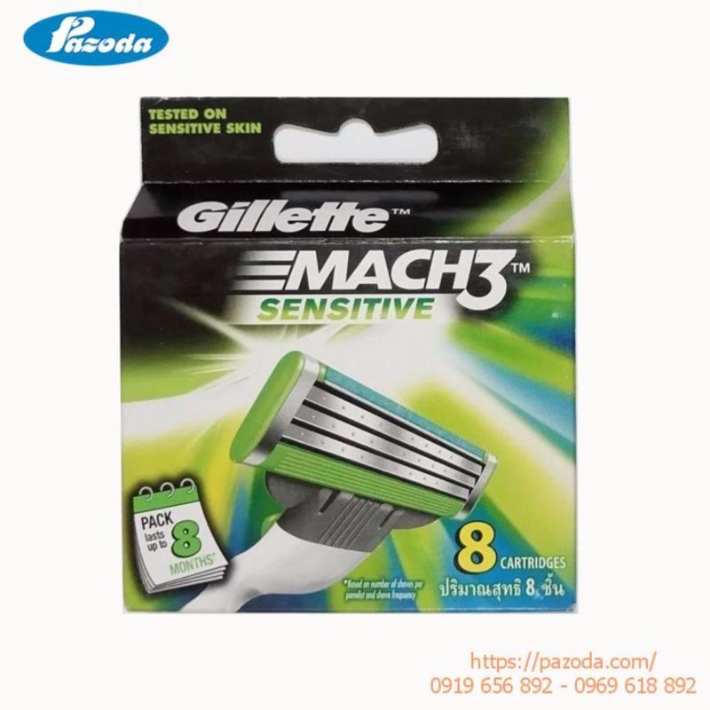 Hộp 8 lưỡi dao cạo râu Gillette Mach 3 sensitive
