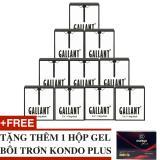 Bộ 10 Hộp Bao Cao Su Keo Dai Thời Gian Gallant 3 In 1 Tặng 1 Hộp Gel Boi Trơn Kondo Plus Nguyên