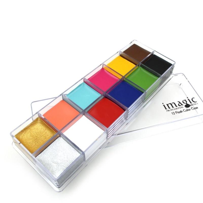 IMAGIC 12 Màu Sắc Mặt Cơ Thể Flash Hình Xăm Vẽ Tranh Sơn Dầu Sắc Tố Dụng Cụ Trang Điểm số 2-quốc tế
