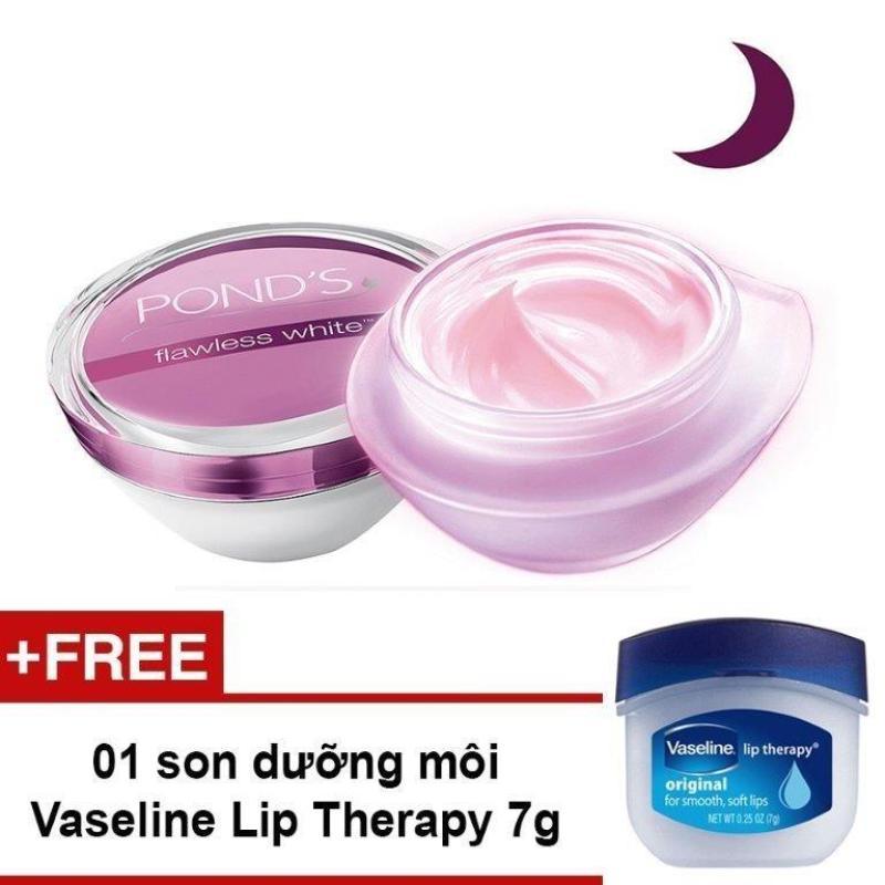 Kem dưỡng da POND's Flawless White trắng không tì vết ban đêm 50g + Tặng 01 hộp son dưỡng môi Vaseline Lip Therapy 7g