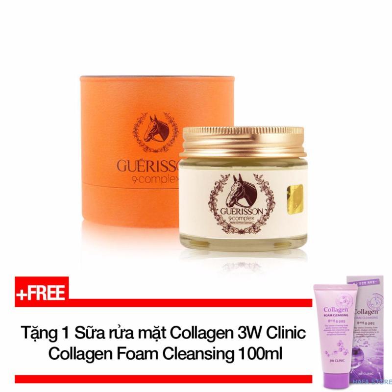 Kem dưỡng trắng da chống lão hóa từdầu ngựa Guerisson 9-complex Cream 70g + Tặng Sữa rửa mặt bổ sung Collagen 3W Clinic Collagen Cleansing Foam 100ml nhập khẩu