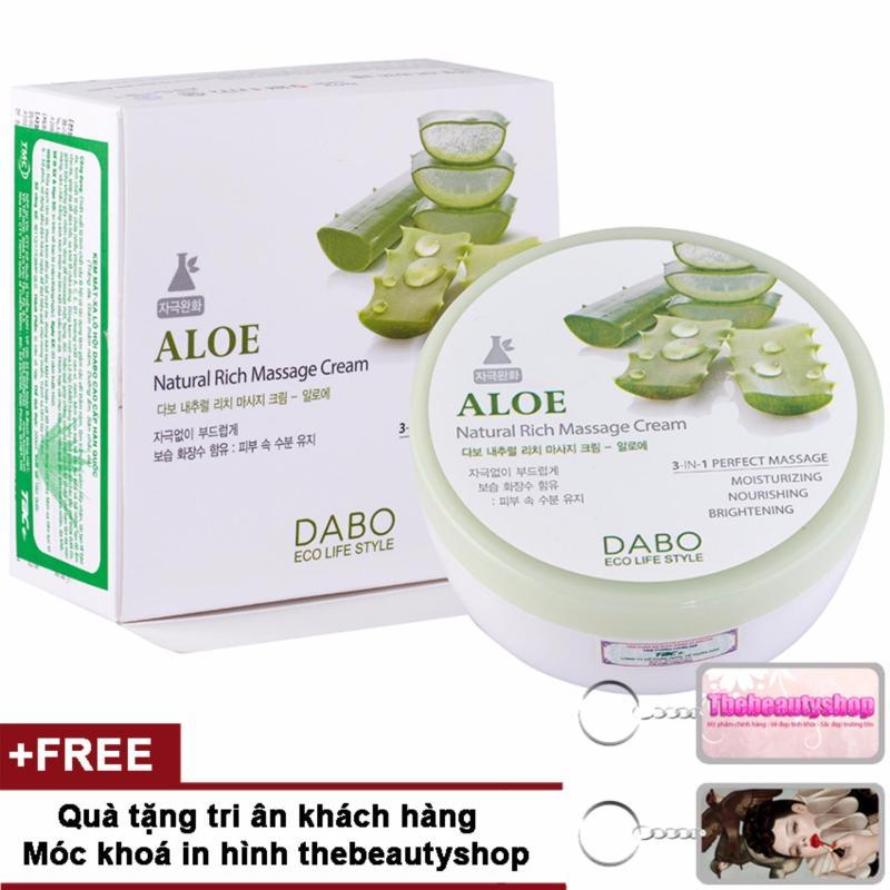 Kem massage mặt và toàn thân làm trắng và tái tạo da Aloe Natural Cream Hàn Quốc 200ml + Tặng móc khoá Thebeautyshop - Hàng chính hãng