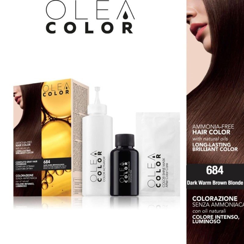Thuốc nhuộm tóc không Amoniac OleaColor ITALY màu 684 DarkWarmBrownBlonde cao cấp