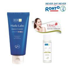 Hình ảnh Kem rửa mặt dưỡng trắng Hada Labo Perfect White Cleanser 80g + Tặng Dầu tẩy trang Hada Labo 40ml