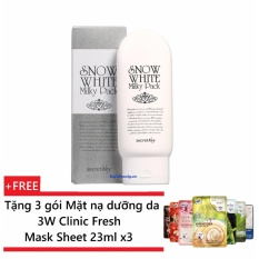 Kem tắm trắng toàn thân Secret Key Snow White Milky Pack 200g + Tặng 3 gói Mặt nạ dưỡng da 3W Clinic Fresh Mask Sheet 23ml x3