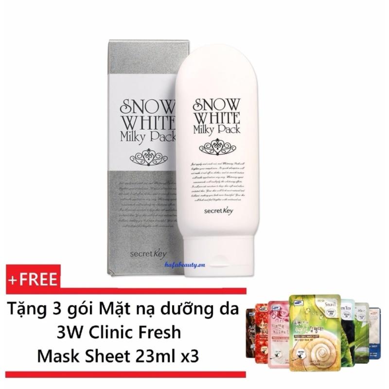 Kem tắm trắng toàn thân Secret Key Snow White Milky Pack 200g + Tặng 3 gói Mặt nạ dưỡng da 3W Clinic Fresh Mask Sheet 23ml x3 nhập khẩu