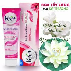 Kem tẩy lông Veet giành cho da thường 100ml - chiết xuất sữa sen và hương hoa nhài