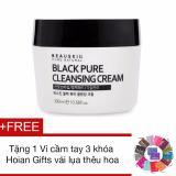 Bán Kem Tẩy Trang Lam Sạch Sau Beauskin Black Pure Cleansing Cream 300Ml Tặng 1Vi Cầm Tay 3 Khoa Hoian Gifts Vải Lụa Theu Hoa Nhập Khẩu