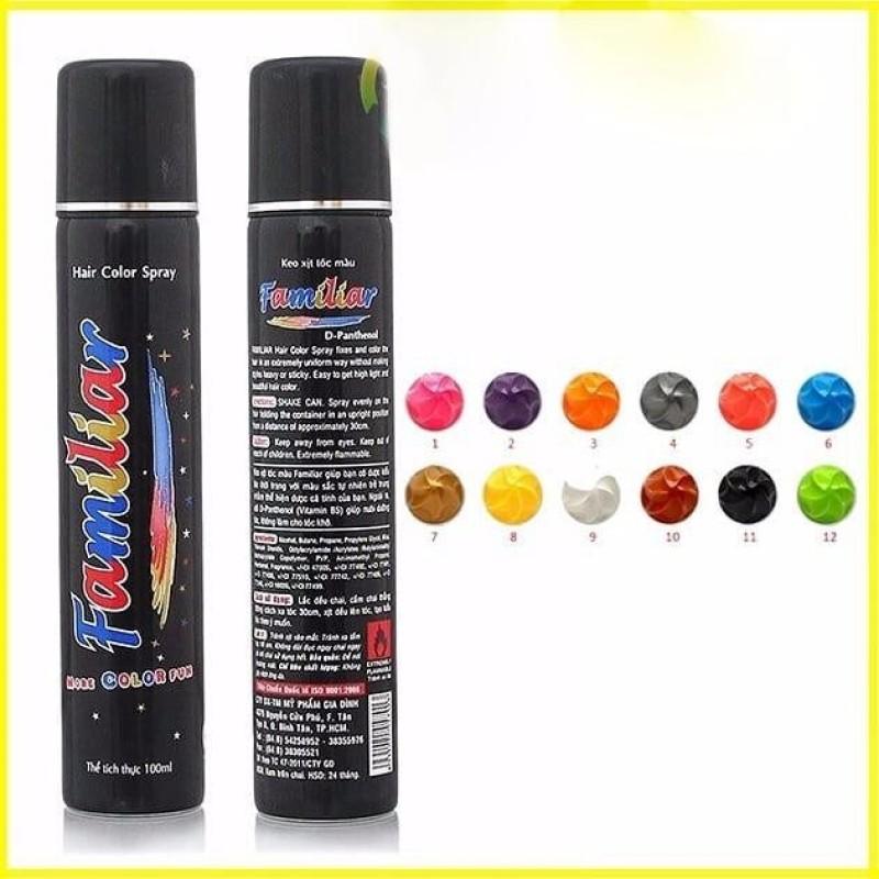Keo xịt tóc màu Familiar 100ml (#E1 Màu xanh biển) - Hàng nhập khẩu cao cấp