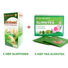 Liệu trình thảo dược giảm cân gồm 1 hộp Slimtosen & 3 hộp trà slimutea Học viện Quân Y