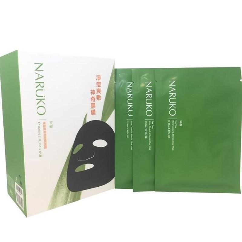 Mặt nạ Naruko Tràm Trà trị mụn Naruko Tea Tree Shine Control & Blemish Clear Mask bản Đài Loan (Hộp 8 miếng) nhập khẩu