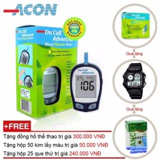 [Lấy mã giảm thêm 30%]Máy đo đường huyết Acon On call Plus Advanced + Tặng hộp 25 que thử + Hộp 50 kim chích máu và Đồng hồ thể thao thumbnail