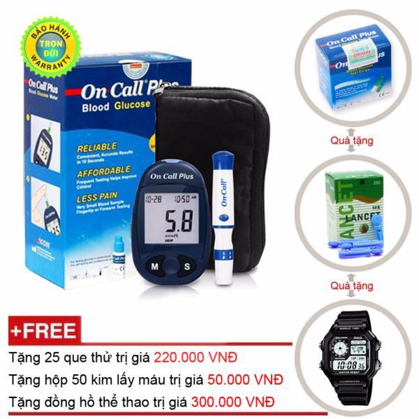Nơi bán Máy Đo Đường Huyết Acon On Call Plus + Tặng hộp 25 que thử + Hộp 50 Kim chích máu và Đồng Hồ Thể Thao Nam